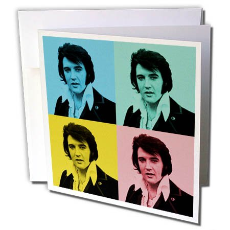 3dRose RinaPiro - Elvis Presley - American Singer and Actor. King of Rock and Roll. Pop Art. - 1 Greeting Card with Envelope -