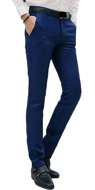2f2e805e0cb814 Pantalones de Hombre de Vestir Pantalones Slim Fit Stretch Skinny Pantalones  2 XS