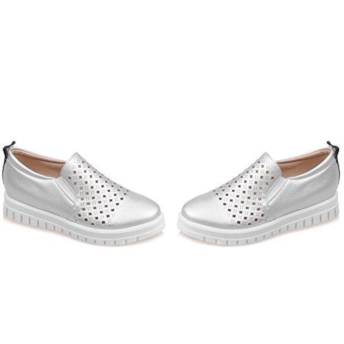 COOLCEPT Zapatos Mujer Moda Breathable Flatform Comodo Outdoor Bombas Zapatos Plata