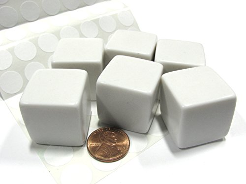 - Set of 6 D6 25mm Blank Large Dice with Customizable Stickers - Solid White