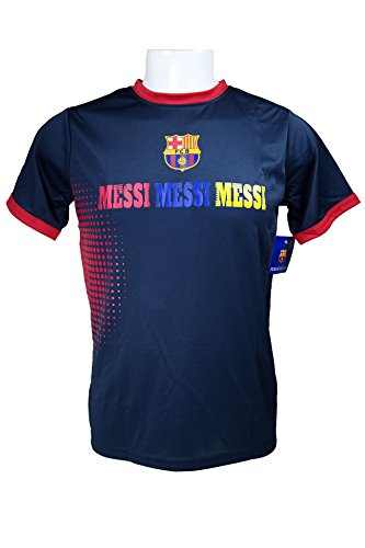 FC Barcelona Messi Number 10 Official Youth Soccer Signature Performance Poly Jersey Rhinox-Y004 Large