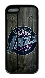 iPhone 5C Case,Utah Jazz Wood Rubber Shell Black Edges Case for iPhone 5C