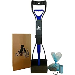 Nomad Pets Pooper Scooper Set for Dogs with Blue Poop Bags - Perfect for Small, Medium, Large, XL Pets - Best Long Handle Scoop - Portable and Heavy Duty with Jaw Claw Bin - Great in Grass