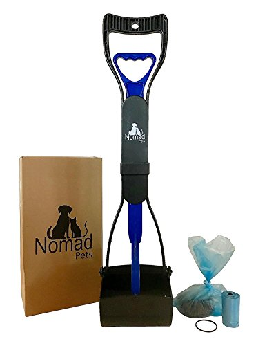 (Nomad Pets Pooper Scooper Set for Dogs with Blue Poop Bags - Perfect for Small, Medium, Large, XL Pets - Best Long Handle Scoop - Portable and Heavy Duty with Jaw Claw Bin - Great in Grass)
