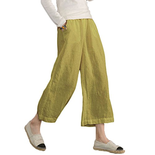 Ecupper Womens Casual Loose Plus Size Elastic Waist Cotton Trouser Cropped Wide Leg Pants Mustard Yellow - Trousers Detail Leg Wide