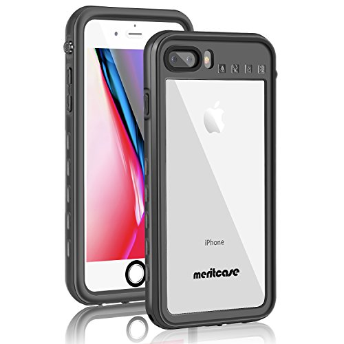 iPhone 8 Plus/7 Plus Waterproof Case, Meritcase IP68 Underwater Full Sealed Cover with Kickstand Shockproof Snowproof Dustproof Protective Case for iPhone 7 Plus/8 Plus