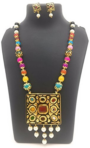 Satyam Kraft Women's Traditional Meenakari Multi Pearl Two Sided Wearable(Random Pendant),Reversible Necklace S Standard Multicolor (Kundan Jewelry)