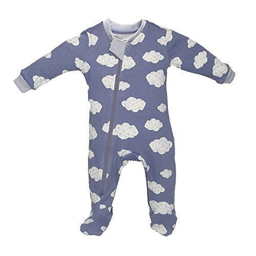 ZippyJamz Organic Baby Footed PJs w/Inseam Zipper ~ Sleepy Clouds Blue (9-12 Mos) ()