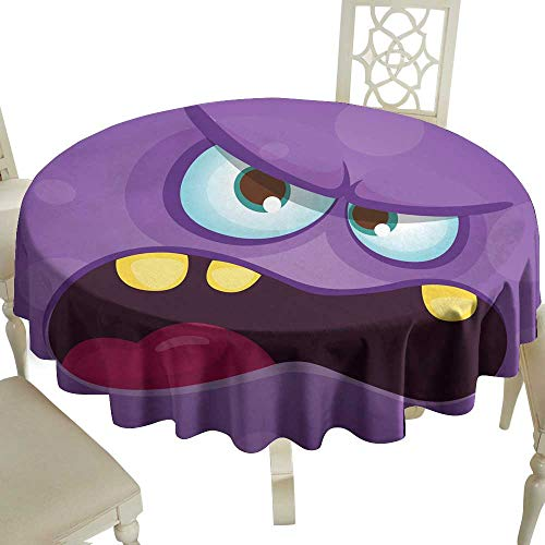 WinfreyDecor Oil-Proof and Leak-Proof Tablecloth Funny Angry Cartoon Monster face Halloween Illustration Prints Design for t-Shirts Indoor Outdoor Camping Picnic D35