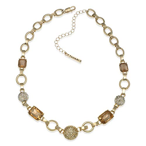 T Tahari Gold Link Chain Necklace with Light Peach and Clear - Peach Crystal Necklace
