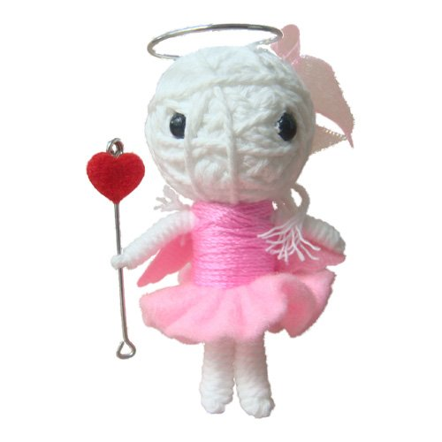 Voodoo String Doll Key Chain Handmade Pink