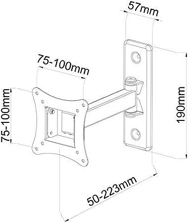 TradeMount Soporte de Pared para TV/Monitor Classic en Extensible de 5,0 cm a 24,8 cm inclinable 12° girable 180° para LG 24