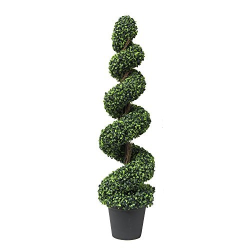 RUOPEI Boxwood Artificial Spiral Topiary Trees – Decorative Fake Greenery in Planter Pots for Front Porch, Outdoor Walkway, Entryway Decorating, Set of 1