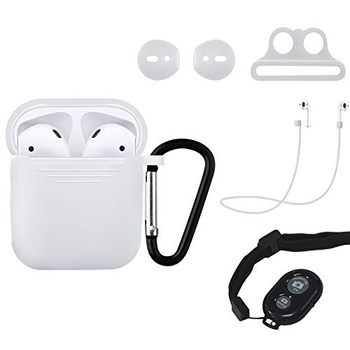 Riqiorod AirPods Case Protective Silicon Cover Skin Carrying Case, with Keychain, Ear Hook/Tips, Strap, AirPods Watch Band Holder, Phone Shutter and Anti Lost Strap (Transparent) ()