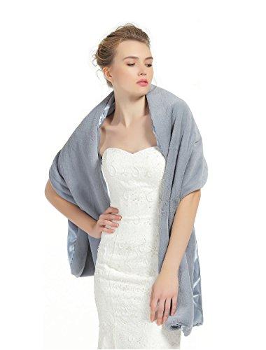 ac688ece57 Shawl Wrap Faux Fur Shrug Stole Scarf Winter Bridal Wedding Cover Up Grey