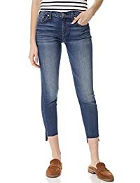7 For All Mankind Women's Ankle Skinny with Step Hem in Distressed Authentic Light