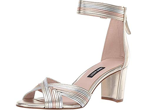 Nine West Women's Pearl Heeled Sandal Platino/Silver/Rose Gold 7.5 M US