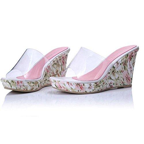 Talon LLP Plein Femmes air en des Plage Super de épaisses Avec Pente Fleurs Flop Flip Pink Haut Sandales ZHpwxpqFn