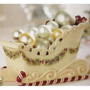 [Grasslands Road Deck the Halls 7-1/2 by 4-3/4-Inch Candy Cane Sleigh Candy Dish] (Christmas Sleigh Candy Dish)