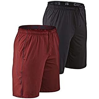DEVOPS Men's 10-inch Athletic Workout Basketball Shorts with Pockets (Pack of 2) (Small, Black/Brick)