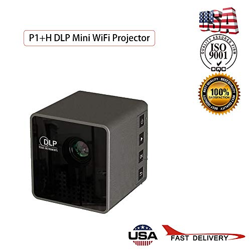 P1+H DLP LED Wireless Mini Projector, WiFi Projector Compatible with Smartphones, Video Games, TV Box Full HD 1080p Supported (P1+H DLP Mini WiFi Projector, As Show)