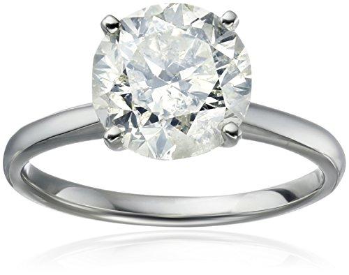18k White Gold Diamond Solitaire Engagement Ring (3.5 carat, H-I Color, I3 (3.5 Ct Diamond)