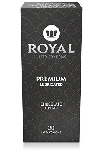 Condoms Bulk, Chocolate Flavored, Ultra Thin, All Natural, Organic, Vegan, Gluten Free Latex Covered in Edible Water Based Lube for Long Lasting Extended Pleasure, 20 Count by Royal (Condoms Flavored Premium Latex)