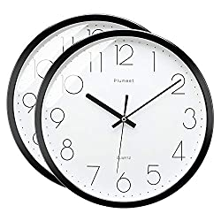 Plumeet 12 Inches Modern Quartz Wall Clock, Silent Non Ticking, Battery Operated, Round (Black 2 Pack)