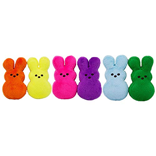 Peeps Mini Plush Bunny Toys for Dogs and Puppies, Pack of 6 | 6 Squeaker Dog Toy Bunnies in Pink, Purple, Blue, Green, Orange, and Yellow