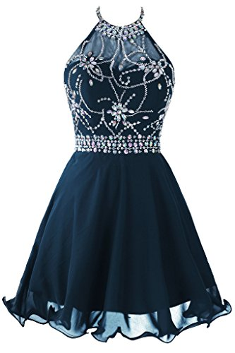 Topdress Women's Short Beaded Prom Dress Halter Homecoming Dress Backless Navy Blue US 18Plus