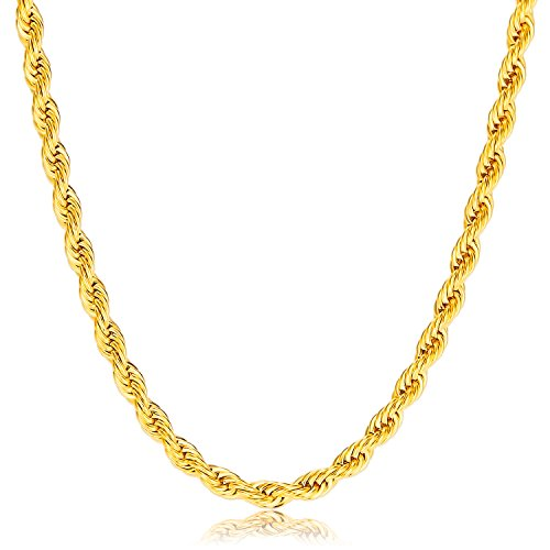 Gold Plated Rope Chain (Vcmart 18K Gold Plated 4mm Stainless Steel Rope Chain Men Women, 22