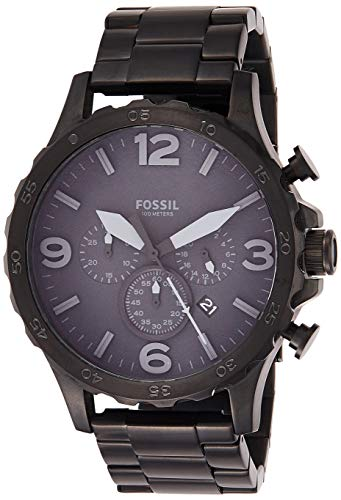 Fossil Men's Nate Quartz Stainless Steel Chronograph Watch, Color: Black (Model: JR1401) (Black Stainless Steel Mens Watch)