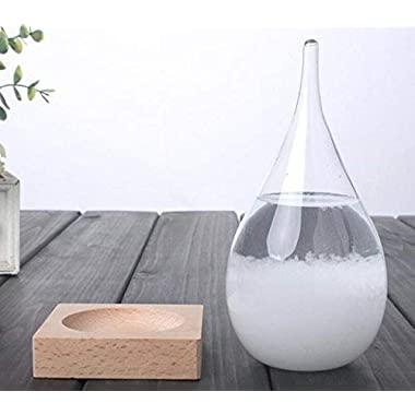 Storm Glass, Large | Weather Predicting Storm Glass, Glass Forecast Barometer | Desk Decor by Average Gents | Size: 4.5  X 4.5  X 8.1