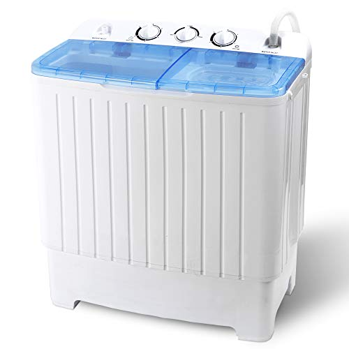SUPER DEAL Portable Compact Mini Twin Tub Washing Machine XL 17.6lbs Capacity w/Wash and Spin Cycle, Built-in Gravity Drain