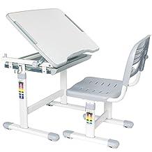 VIVO Height Adjustable Childrens Desk & Chair Kids Interactive Work Station Grey (DESK-V201G)