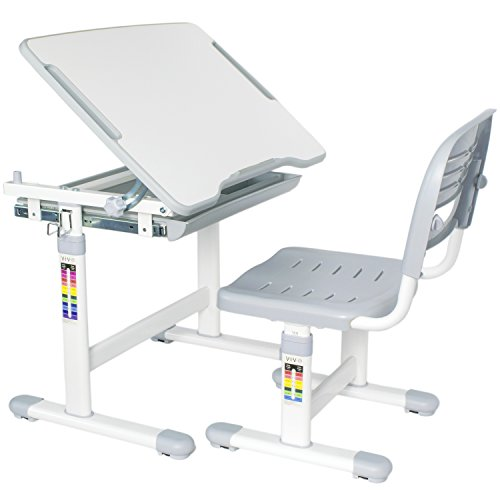 VIVO Height Adjustable Children's Desk and Chair Set, Grey by VIVO