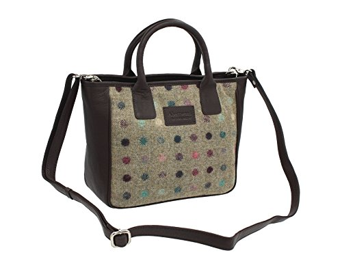 Borsone Mala Leather Collezione ABERTWEED in Pelle e Tweed 728_40 Punto marrone Punto Marrone