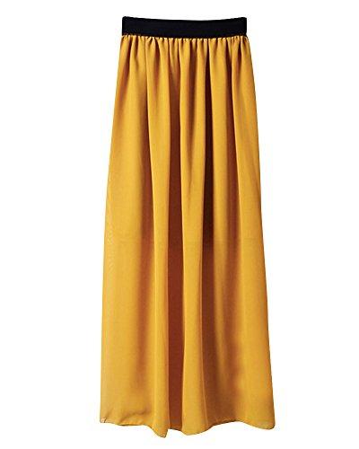 Mesdames Casual Taille lastique en Mousseline de Soie Longue Midi Jupe Femmes Mousseline de Soie lgant Pliss Jupe Jaune Fonc