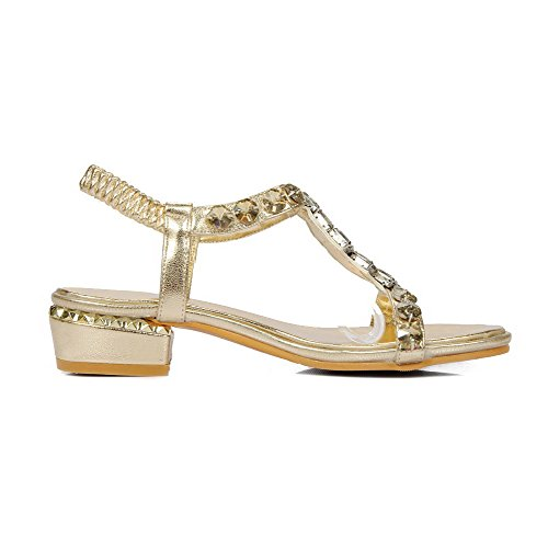 AgooLar Mujeres Mini Tacón Material Suave Sólido Sin cordones Puntera Abierta Sandalia Gold