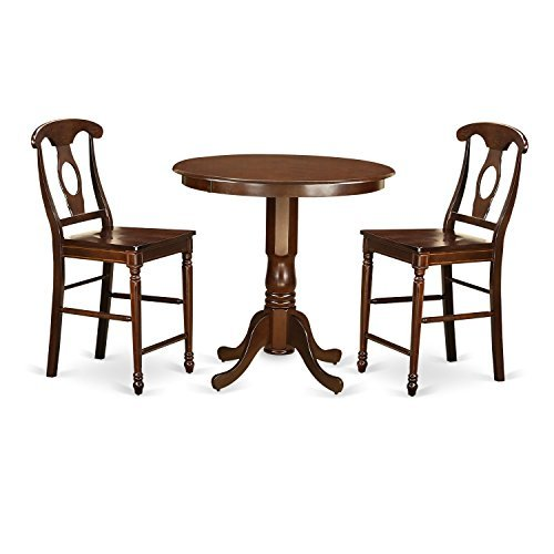 - East West Furniture JAKE3-MAH-W 3 Piece Pub Table and 2 Kitchen Bar Stool Set