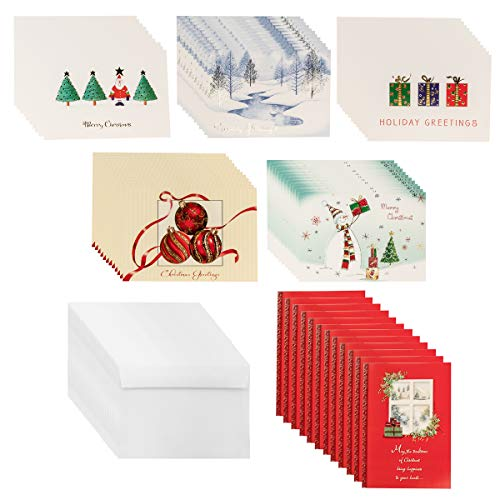 Designer Greetings (72 count) Boxed Christmas Cards & Envelopes Holiday Greetings Bulk Sets Glitter ()