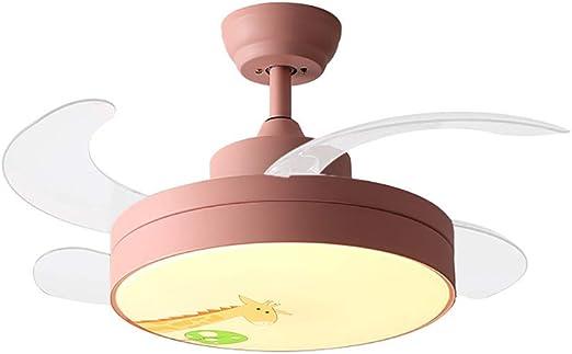 XGBIN Lámpara de Ventilador de Techo, Ventilador de Techo LED Plegable, 4 aspas retráctiles Invisibles de acrílico, Control Remoto para Interiores, Sala, Comedor, Dormitorio: Amazon.es: Hogar