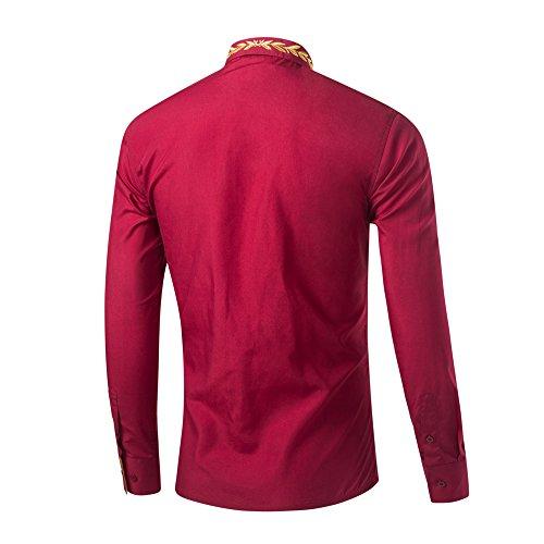 Vestito Casual Solido Sottile Cotone Uomini Ween Maniche Fit Smoking Pulsante A Lunghe Fascino Camicia Moda Red03 Camicie wvBOq0B