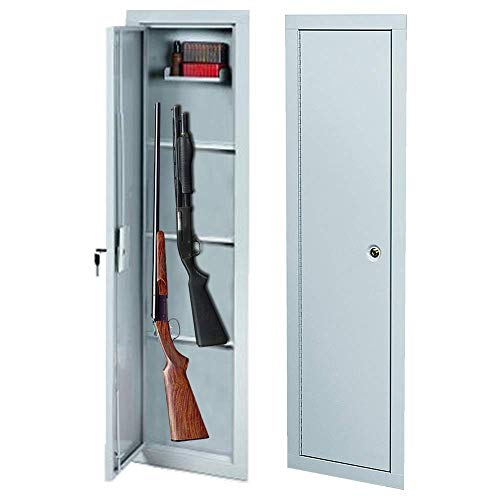 Cirocco Security in-Wall Vault Safe Gun Cabinet with Key Lock Heavy Duty Durable Sturdy 3 Removable Steel Shelves Safety 3 Point Locking Storage for Valuables Firearms Rifles Shotguns Home Pawn Shop