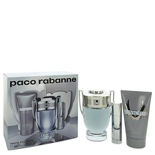 Invïctus Cologne by Päco Räbänne For Men Gift Set - 3.4 oz Eau De Toilette Spray + .34 oz Mini EDT Spray + 2.5 oz Shower ()