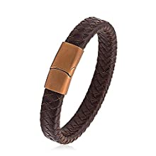 Men's Brown Braided Thick Leather Bracelet