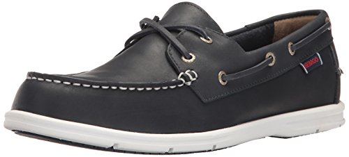 e Two Eye Boat Shoe, Navy Leather, 9 M US (Sebago Mens Slip)