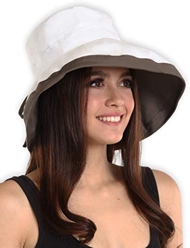UV Protection Packable Cotton Sun Hat with Adjustable Drawstring - Stylish, Foldable & Crushable Wide Brim Women's Summer Hat for Beach Travels, Boating, Hiking & Outdoor Adventures ()