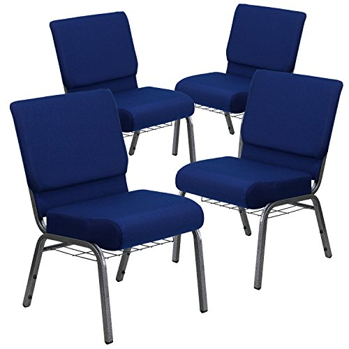 - Flash Furniture 4 Pk. HERCULES Series 21''W Church Chair in Navy Blue Fabric with Cup Book Rack - Silver Vein Frame