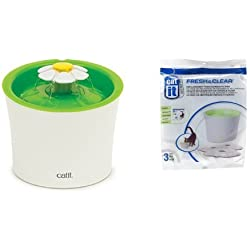 Catit Flower Fountain and Catit Replacement 3 pack Carbon & Foam Cartridge for Fresh & Clear Water Fountain Bundle